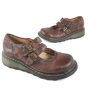Dr. Martens 2 Strap Brown Leather Mary Jane Shoes